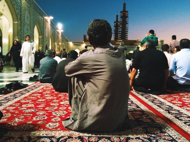 The last Maghreb prayer at Imam Reza Shrine, Alghadeer area